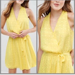 NWT Anthro Yellow embroidered wrap dress
